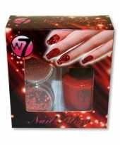 Rooden nagels pakket met glitter