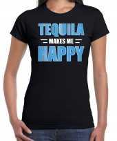 Tequila makes me happy drank t shirt kleding zwart voor dames