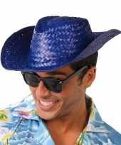 Toppers blauwe cowboy strohoed voor volwassenen