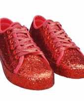 Toppers rode glitter disco sneakers schoenen voor dames