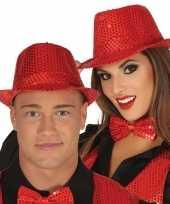 Toppers rode trilby verkleed hoed met pailletten voor volwassenen