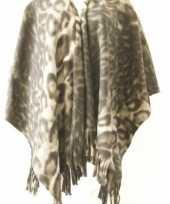 Winter poncho omslagdoek panterprint