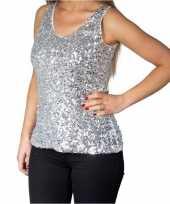 Zilveren glitter pailletten disco topje mouwloos shirt dames