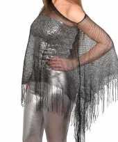 Zilveren visnet poncho omslagdoek stola dames