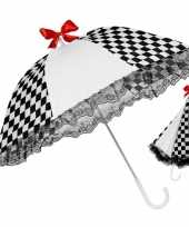 Zwart witte paraplu met een rode strik