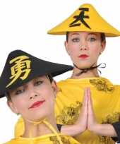 Zwarte aziatische verkleedhoed voor volwassenen